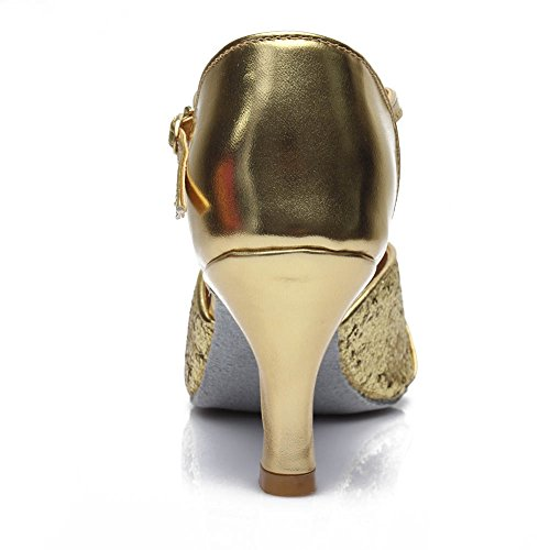 Dance Ballsaal Gold 259 Schuhe Tanzschuhe D7 Latin Damen Modell HROYL 7cm Satin qaWftO1gn