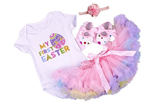 AISHIONY 4PCS Baby Girl Newborn My 1st Easter Tutu Onesie Outfit Skirt Dress (L) -
