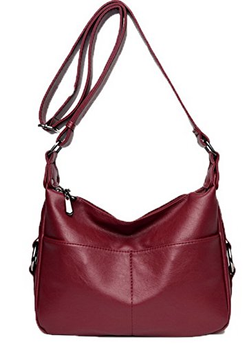 Agoolar Women Shopping Bags Casual Pants Zipper Pu Crossed, Burgundy Gmxbb180853