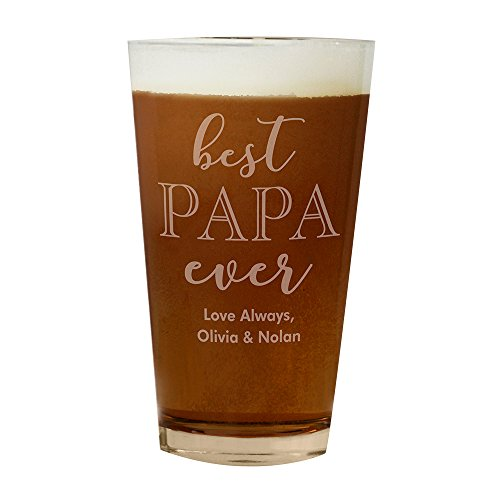 GiftsForYouNow Best Papa Ever Engraved Beer (Heat Treated Beverage Mixing Glass)
