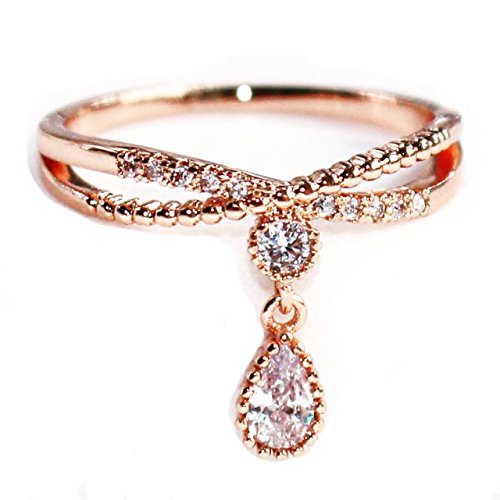 Gieschen Jewelers Teardrop Charm X 14K Rose/White Gold-Plated CZ Crystal Ring