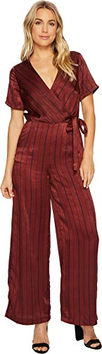 J.O.A. Women's Short Sleeve Wide Leg Jumpsuit Wine Multi (Satin Jumpsuit)