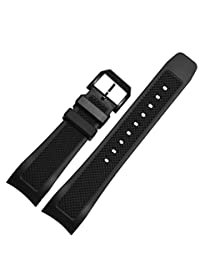 Memery Space Silicon Arc-shaped End Strap 22mm IWC Repalcement Black (Black Clasp)