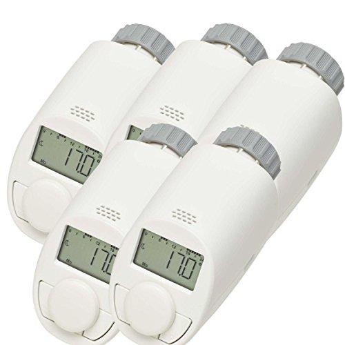 eqiva Lot de 5Type N de thermostat électronique pour radiateur avec fonction boost, jusqu'à 30% d'économie de chauffage jusqu'à 30% d'économie de chauffage 132231