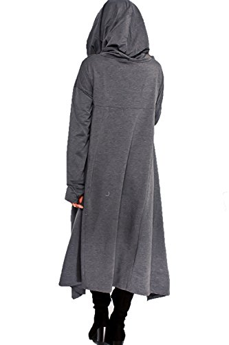 Playworld Womens Irregular Hem Loose Long Sleeve Hooded Tunic Top Dress Dark -