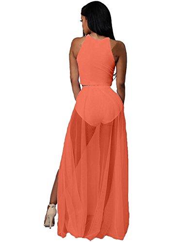 (Women's Sleeveless Mesh Slit Crop Top Skirt Set 2 Pieces Outfits Party Maxi Dresses Clubwear Large Orange)