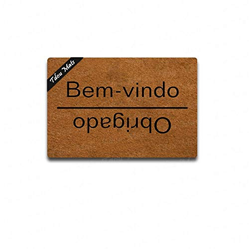 Cindy&Anne Welcome Goodbye in Portuguese Doormat Welcome Mat Funny Welcome Door mat Entrance Floor Mat Door Mat Decorative Indoor Outdoor Doormat 23.6 by 15.7 - Portuguese Floor