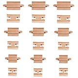 Tiny Conductors 18 Piece Wooden Train Track Connectors & Adapters 100% Real Wood Male-Male & Female-Female Pieces, Compatible with Thomas and Major Brands Wooden Toy Railroad Sets, (18-Piece)