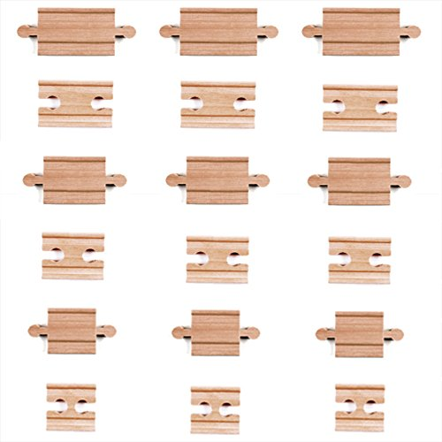 18 Piece Wooden Train Track Connectors & Adapters by Tiny Conductors - 100% Real Wood Male-Male & Female-Female Pieces, Compatible with Thomas and Major Brands Wooden Toy Railroad Sets, (18-Piece) (Plastic Train Track)
