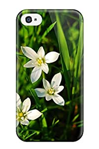 Durable White Flowers Back Case/cover For Iphone 4/4s