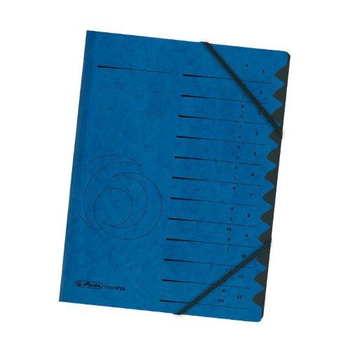 Herlitz 10843316 - Carpeta archivadora con elásticos y señaladores 1 a 12 color azul: Amazon.es: Oficina y papelería