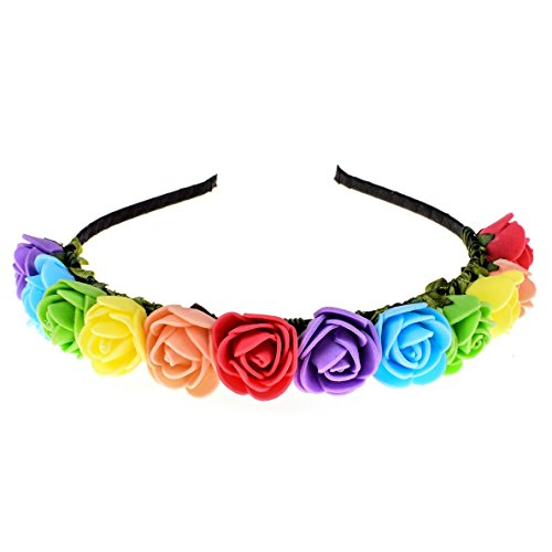 Love Sweety Boho Floral Crown Rose Flower Headband Hair Wreath -