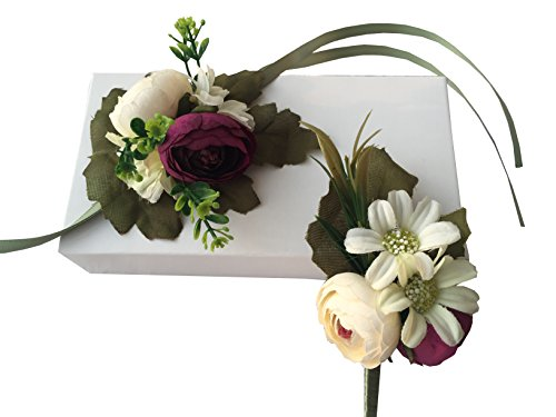 YuRong Vintage Wrist Corsage Bridesmaid Corsage Flower Corsage Wedding Boutonnieres (Grape)