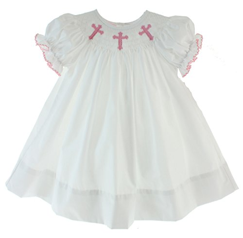 Petit Bebe Girls White Christening Dress Pink Smocked Crosses (24m) ()