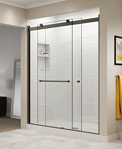 (Basco Rotolo 56-60 W x 70 H inch Semi-Frameless Sliding Shower Door Clear Glass, Oil Rubbed Bronze Finish (RTLA05B6070CLOR))