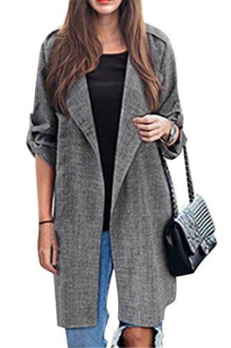Fensajomon Womens Lapel Casual Business Plus Size Cardigan Loose Trench Coat Jacket Dark Grey L by Fensajomon