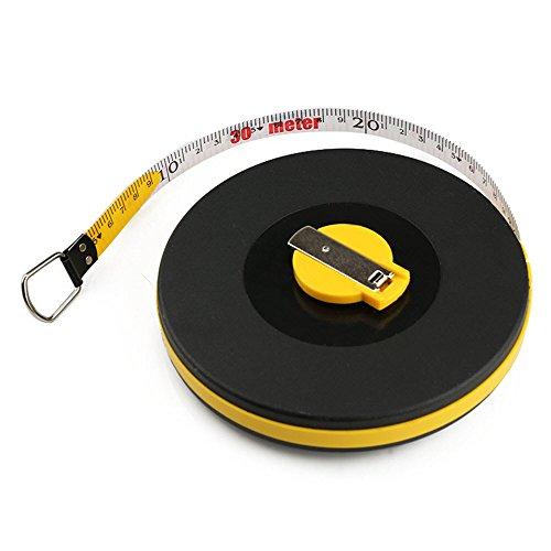 (Wintape Surveyors Long Tape Rule Fiberglass Measuring Tape 30M/100 Feet and 50M/165 Feet (30M/100Ft, Black))