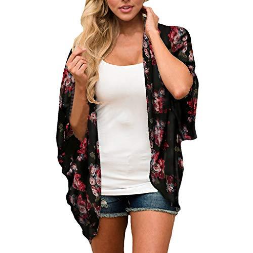 Womens discount Cardigan Chiffon Snake Print Kimono Loose Half Sleeve ()