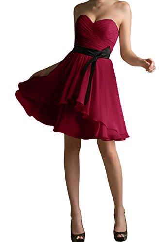 Mit Abendkleid Herzform Gorgeous Überknie Kurz Modisch Partykleid Schwarz Bride Passe Cocktailkleid Weinrot wvwq1IA