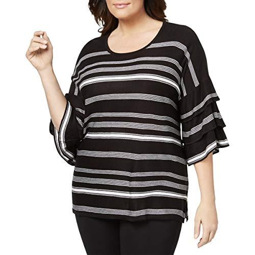 (Calvin Klein Womens Plus Striped Pullover Crewneck Sweater Black-Ivory)