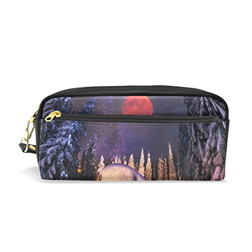 Sunlome Students PU Leather Hunting Hut Winter Mountains Pattern Stationary Pencil Case Pen Bag Pouch Makeup Cosmetic - Student Hut