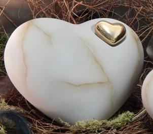 Tierurne - Herz aus Keramik, Braun marmoriert, Vol.: ca. 2,00 Ltr.