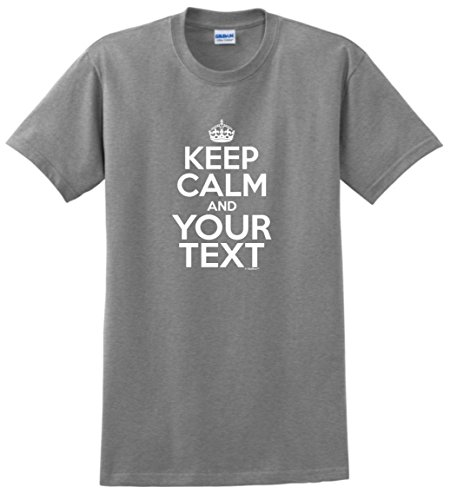 Customized Birthday Gift Personalized Keep Calm Your Text Custom T-Shirt Large SpGry ()