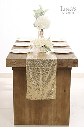 Ling's moment Sparkly Sequin Table Runner Champagne 12 x 108 Inch (Hem Edge) for Thanksgiving Christmas Wedding Engagement Party Bridal Baby Shower Dresser Decorations by Ling's moment (Image #3)