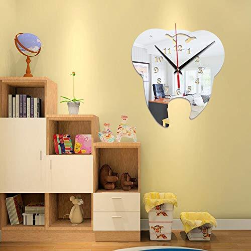 XUEXUE 3D Creative Tooth-Shaped Wall Clock Dental Decoration Ornament Wall Clock Creative Mirror Wall Clock (Color : A)]()