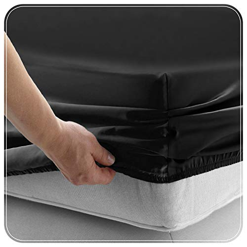 JUWENIN,Fitted Sheet Microfiber, Brushed Finish, Wrinkle, Fade, Stain Resistant, One Fitted Bed Sheet (Full, Black)