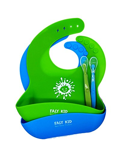 Waterproof Silicone Bibs Easily Clean! Silicone Baby Bibs Gift Bundle for Boys & Girls. Set of 2 Silicone Bibs + BONUS 2 Silicone Spoons Free (Green/Blue)