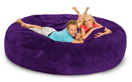 8' Round Relax Sack-Microsuede Purple COVER ONLY - Does not include filling.
