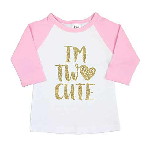 Olive Loves Apple 2nd Birthday Outfit Girl Gold I'm Two Cute Outfit Glitter Gold 2nd Birthday