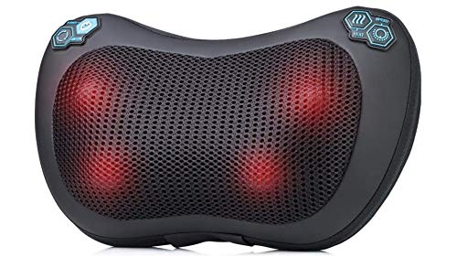 HemingWeigh Shiatsu Neck Back Massage Pillow - Heated Deep Tissue Kneading Massager with 4 Rollers - Adjustable Speed & Heating Features - Relieve Pain & Strained Muscles