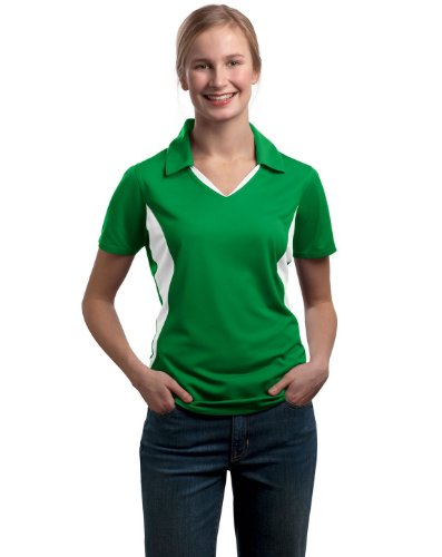 Sport-Tek Women's Side Blocked Moisture Sport Shirt, Kelly Green/White, XX-Large