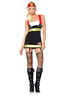Leg Avenue Women's Backdraft Babe Garter Dress with Cotton Tank and Suspenders