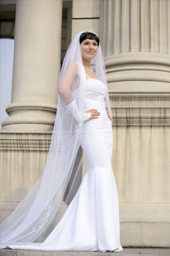 Bridal Veil White 1 Tier Cathedral Length With Sequins, Faux Pearls, Bugle Beads by Velvet Bridal