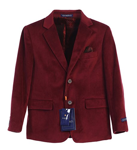 Gioberti Big Boys Formal Velvet Blazer with Designed Buttons, Burgundy, Size -