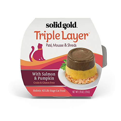 Solid Gold Triple Layer Grain Free Wet Cat Food with Salmon & Pumpkin 2.75Oz -18Ct