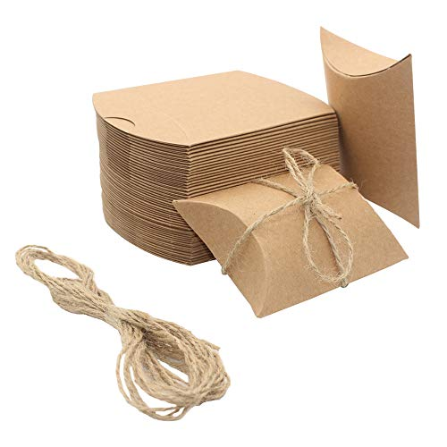 (100PCS Kraft Paper Pillow Shape Candy Box for Wedding Favors Baby Shower Birthday Party Supplies+One Roll Jute Twine (3.5