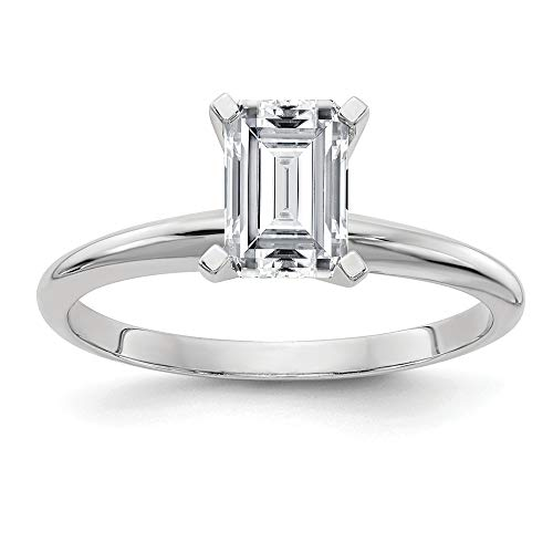 (14k White Gold 1.0ct. 7x5 Green Emerald Moissanite Solitaire Band Ring Size 7.00 Engagement Light Gsh Gshx Fine Jewelry Gifts For Women For Her)