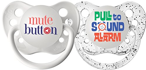 Ulubulu Expression Pacifier Set, Unisex, Mute Button and Pull to Sound Alarm, 0-6 Months