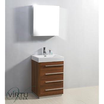 Virtu USA JS 50524 PL 24 Inch Bailey Single Sink Bathroom Vanity, Plum