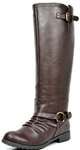 TOETOS ARIAZ Women's Fashion Daily Casual Knee-High Buckle Back Zipper Lady Winter Riding Boots Brown Wide-Calf Size 11