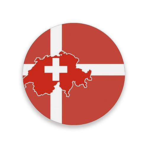 "Switzerland Map Flag Coasters for Drinks 3.9"" Ceramic Drink Coaster Housewarming Gifts for New Home Decor Save Your Furniture from Stains Marks and Scratches Set of 2"