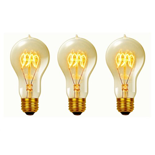 Globe Electric 60W Vintage Edison A19 Quad Loop Incandescent Filament Light Bulb, 3-Pack, E26 Base, 245 Lumens, 31325 (Base Medium 120v Incandescent A19)