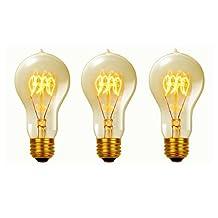 Globe Electric 31325 60-watt A19 Antique Style Vintage Quad Loop Incandescent Medium Base Light Bulb, 3-Pack