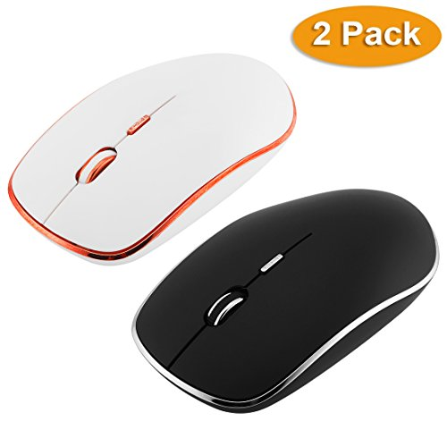 Nano Cordless Laser Mouse (LingAo Slim Silent Wireless Mouse,2 Pack with Nano Receiver,3 Adjustable DPI Levels,Slim Silent Wireless Mouse Silent Click for PC, Laptop, Tablet, Computer, and Mac (Black&White))
