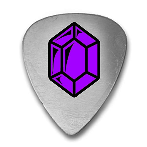 Fantasy Game Gem Currency Video Game Rupee Coin - 3D Color Printed Guitar and Bass Pick Gift Silver (Purple)