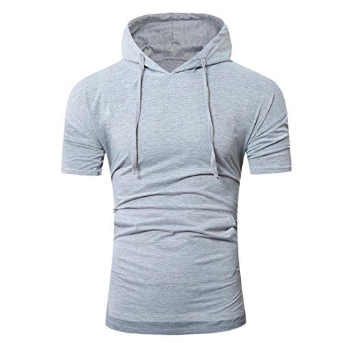 Bluestercool Été Fashion Pull à Capuche T-Shirt à Manches Courtes Pour Hommes Gris